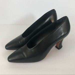 Vintage Via Spiga Classic Black Leather Heels Pump
